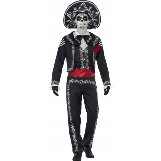 Voordeligekostuums Halloween Day of the dead Senor Bones kostuum