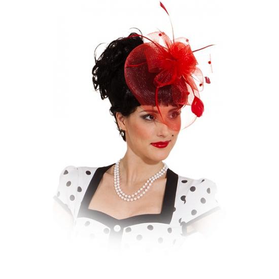 Voordeligekostuums Haar sieraad kleine hoed rood op kam